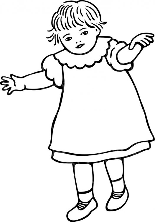 Clipart walking three year old. Black white line drawing