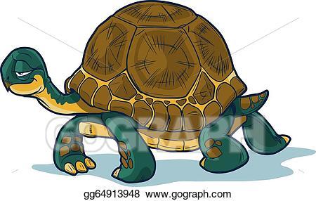 Vector art cartoon drawing. Clipart walking tortoise