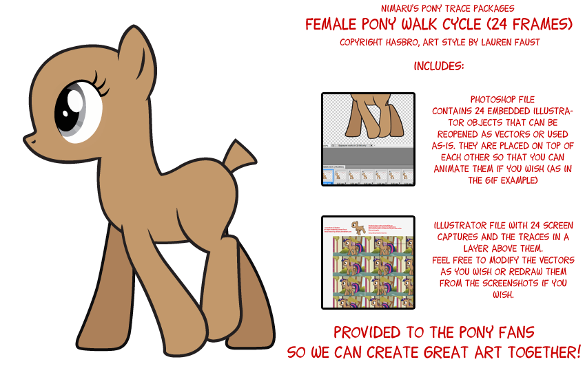 Drawn pony walk cycle. Clipart walking vector