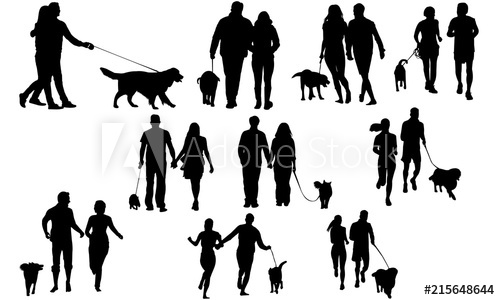 Couples with dog silhouette. Clipart walking vector