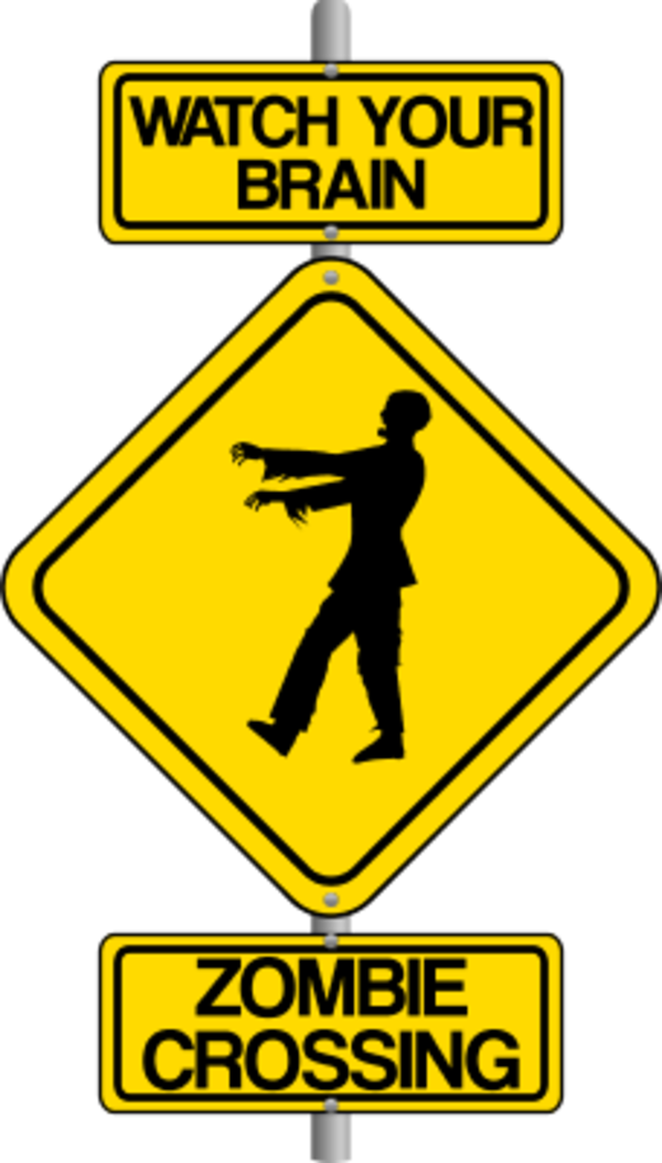 Zombie clipart zombie brain. Traffic sign art crossing