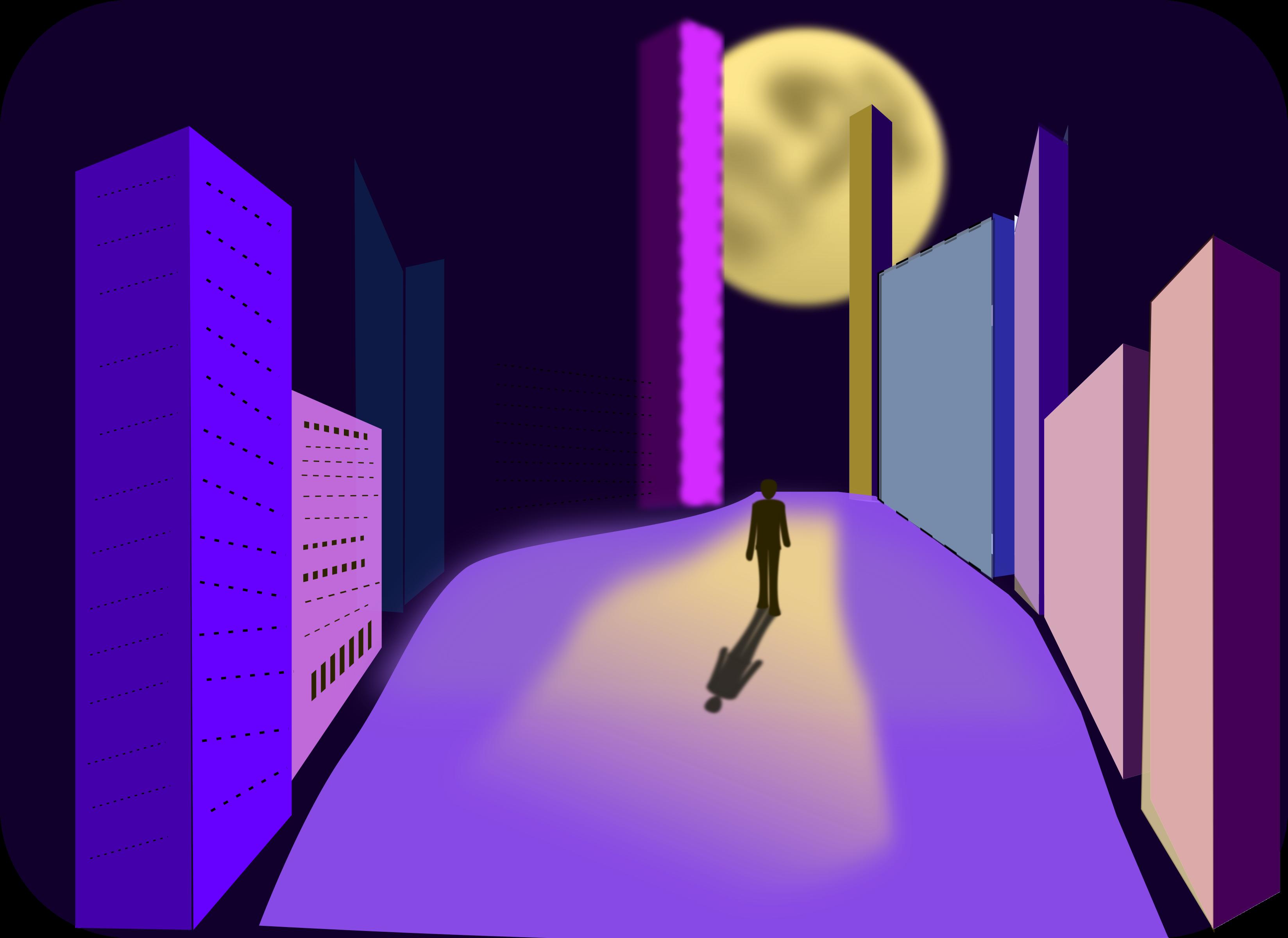 Night clipart city. Walk big image png