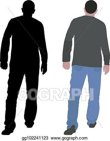 Clipart walking walking away. Vector stock illustration