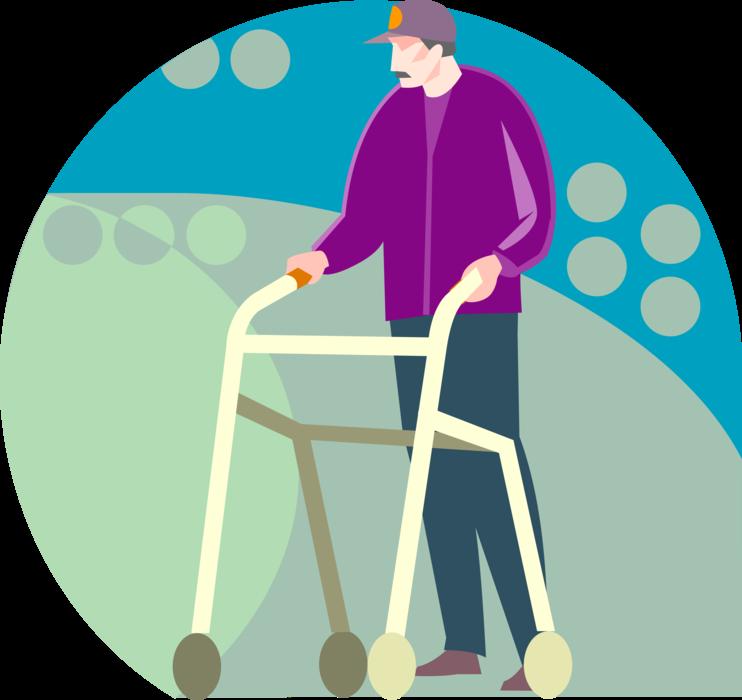 Clipart walking walking frame. Walker or cane vector