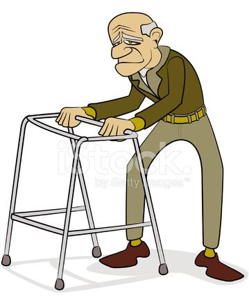 Old man with cartoon. Clipart walking walking frame