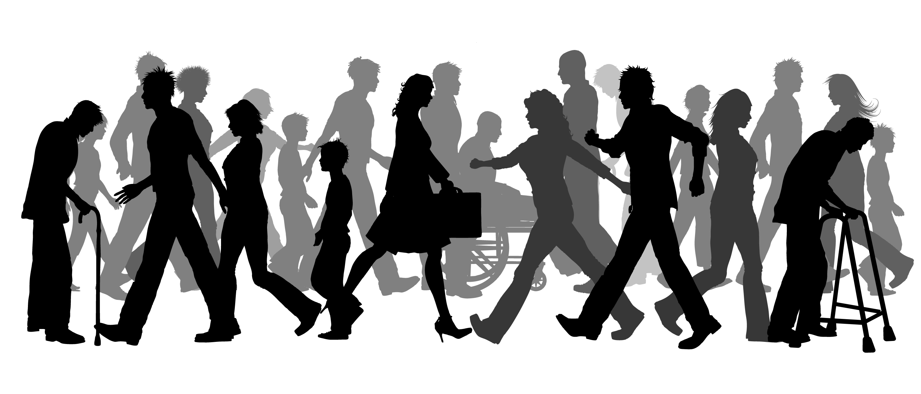 Walking clip art group. Humans clipart community person
