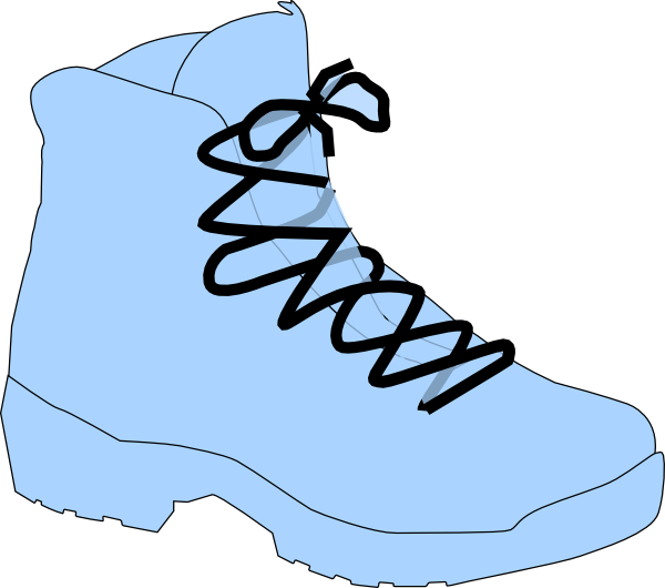Clipart walking walking shoe. Light blue boot clip