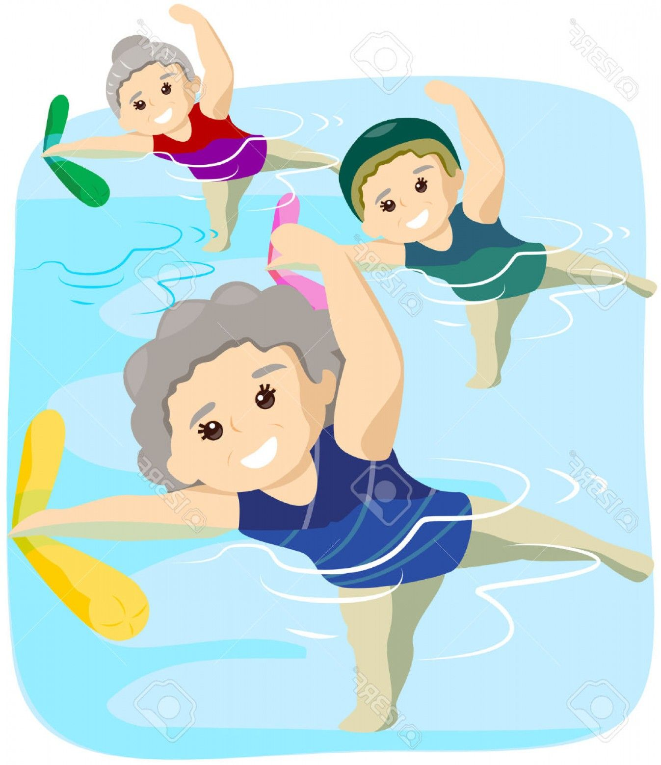 Water aerobics clip art. Exercise clipart drawing