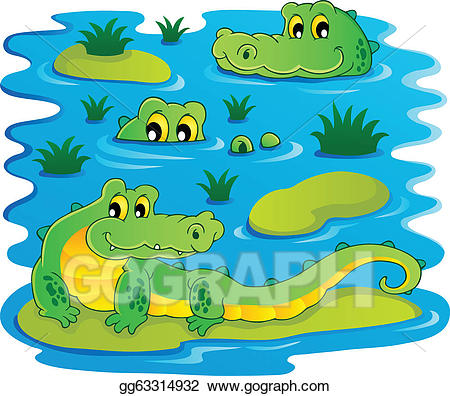 Crocodile clipart water. Vector image with theme