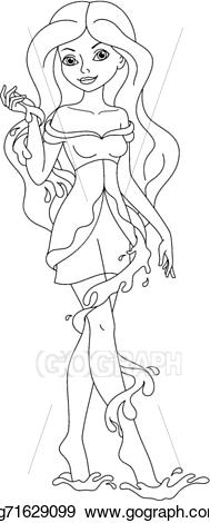 Fairies clipart water. Eps vector fairy coloring
