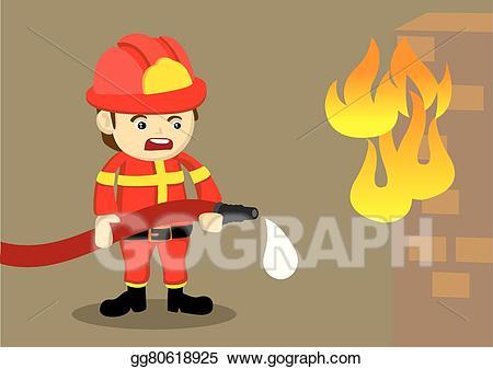 Eps vector fighting fire. Clipart water fireman