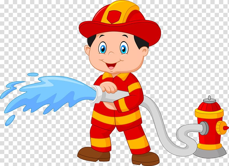 Cartoon transparent background png. Clipart water fireman