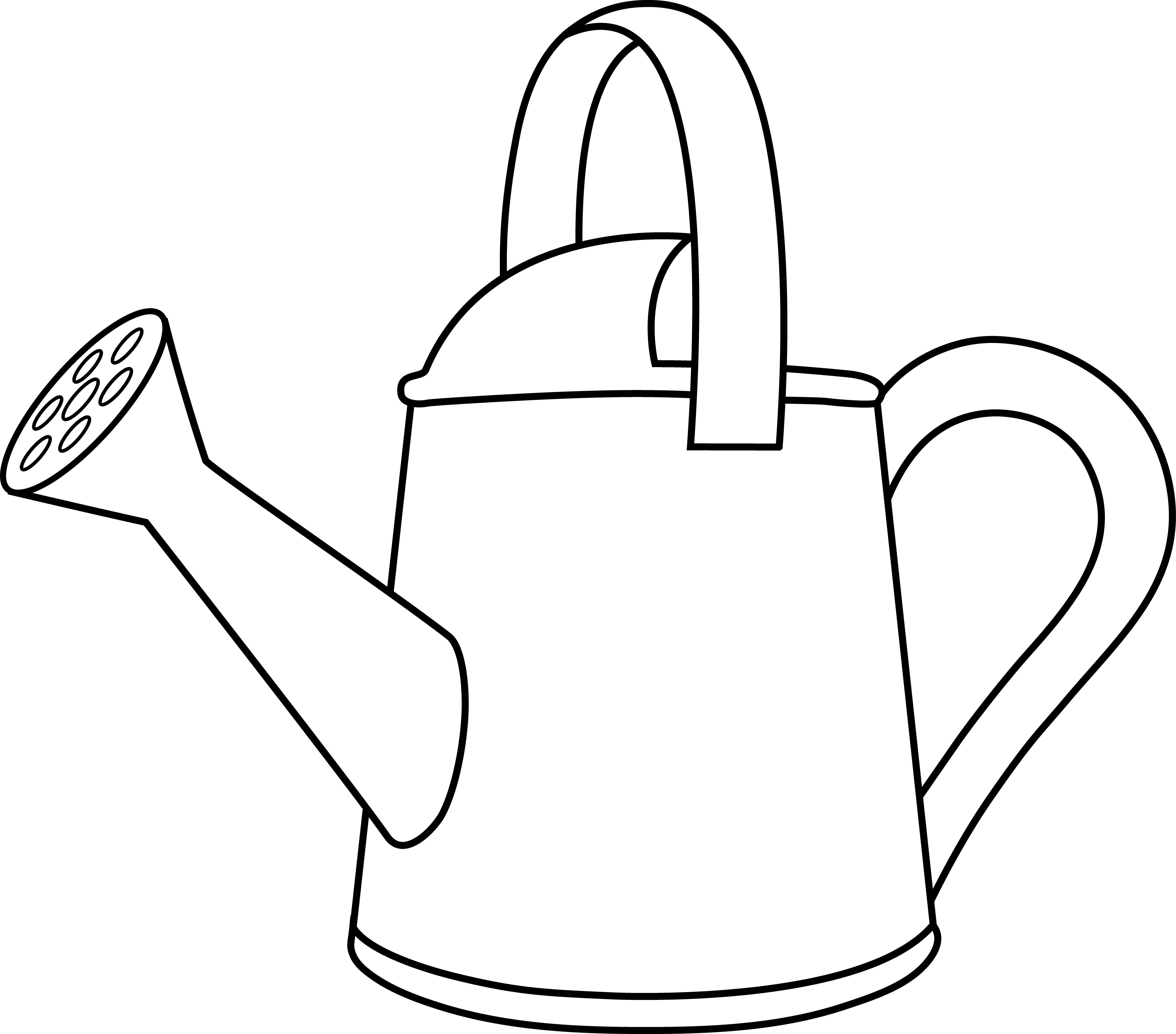 Garden clipart outline. Colorable watering can free