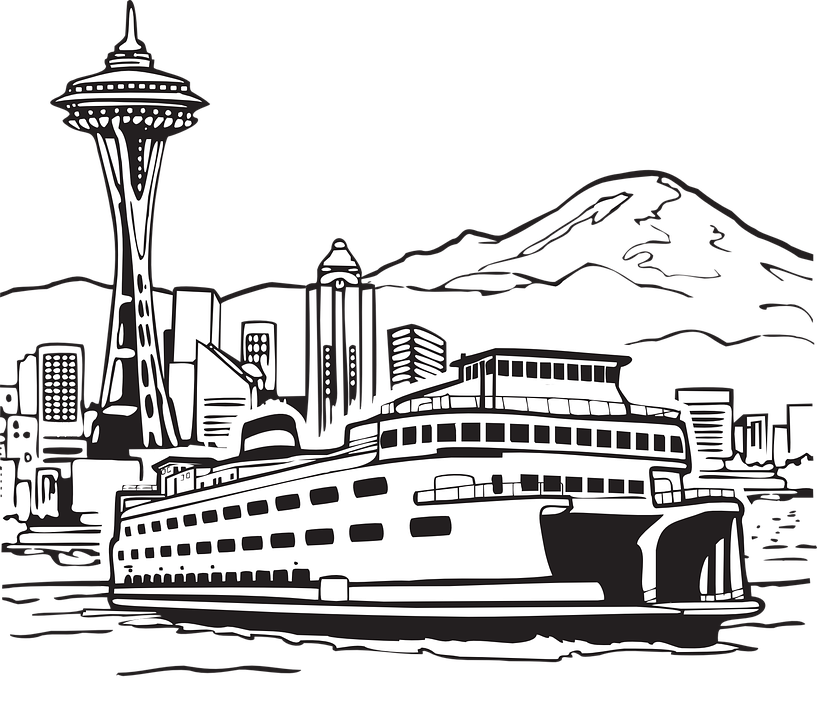 Clipart water outline. Seattle skyline shop of