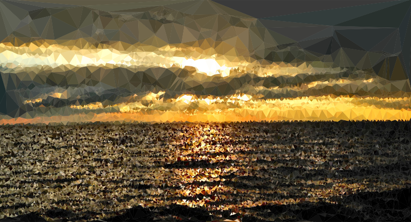 Low poly dark medium. Water clipart sunset