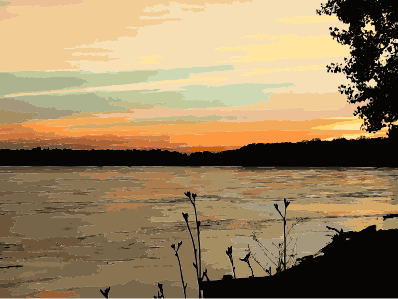 Water clipart sunset. Missouri river medium image