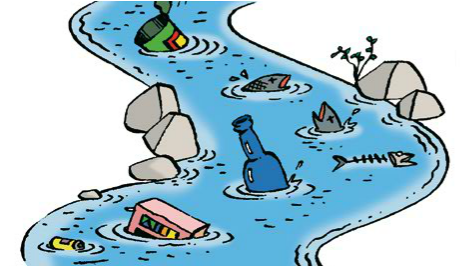 Cartoon drawing . Water clipart water pollution