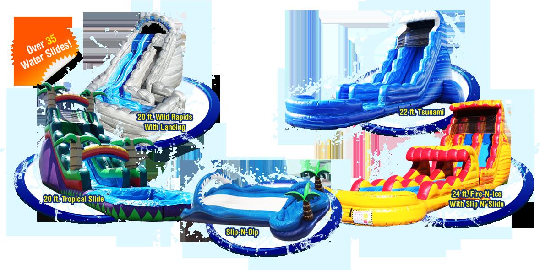 Water clipart water slide. Bounce house slides clown