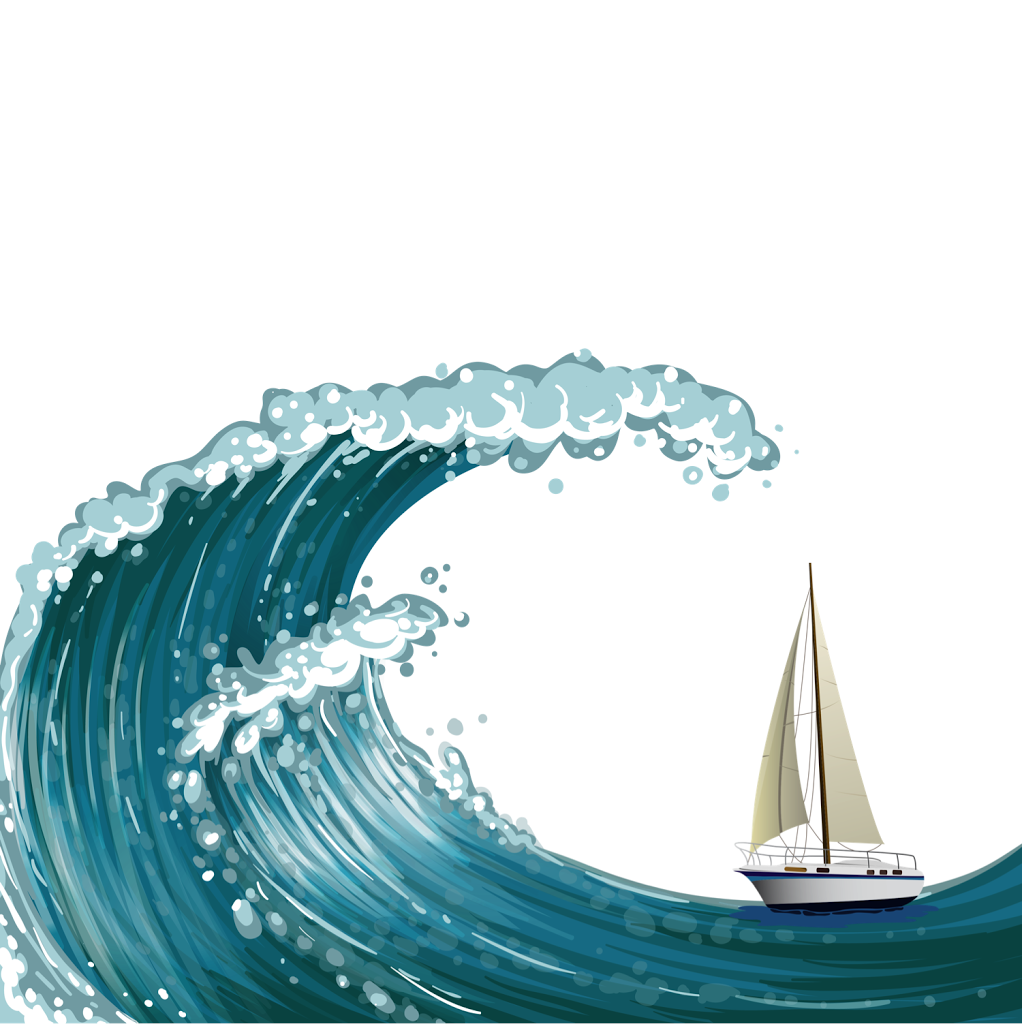 Waves clipart curling wave. Sailing in the boat