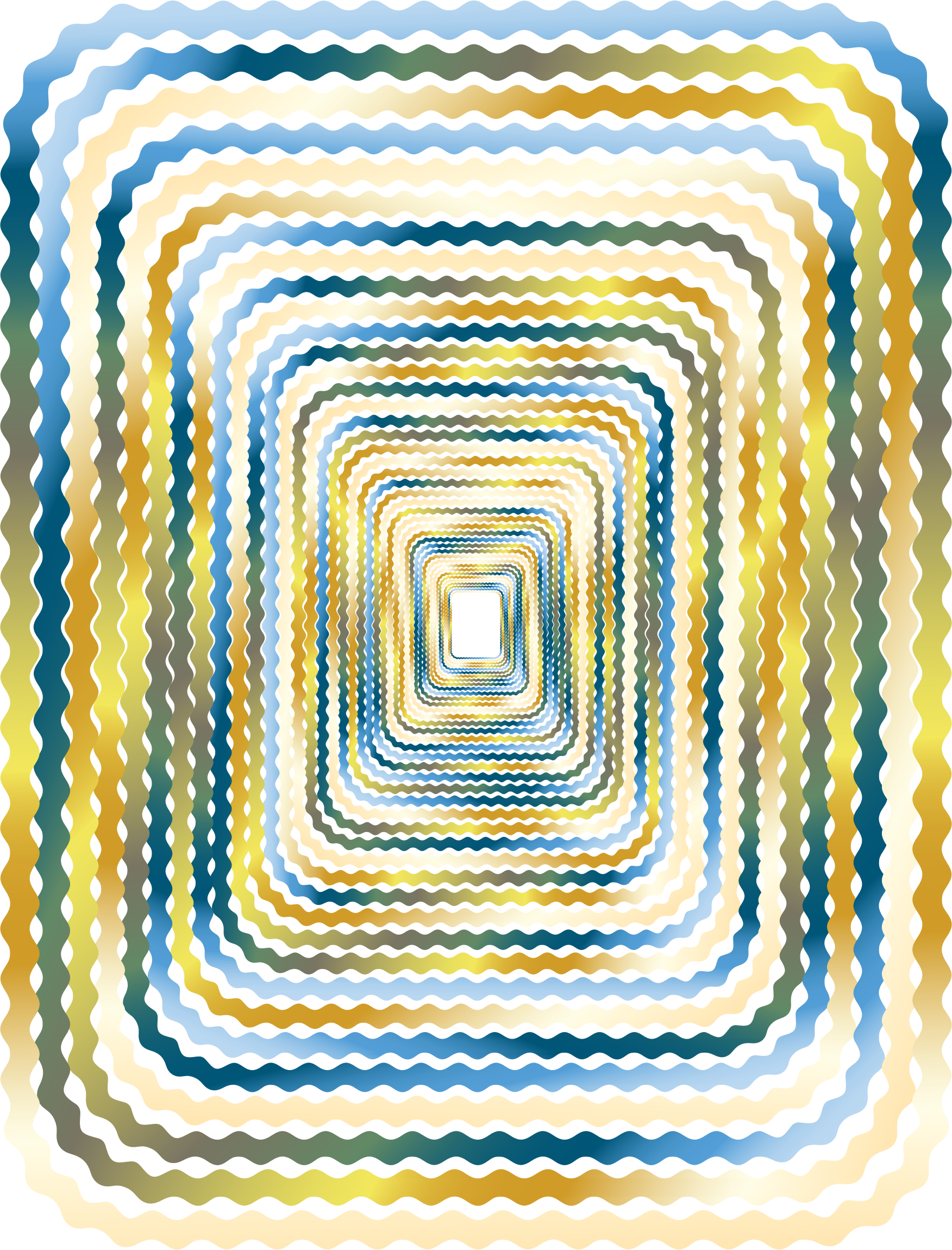 Prismatic wave border perspective. Waves clipart yellow