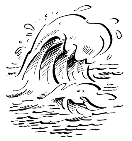 Waves clipart coloring page. On the ocean free