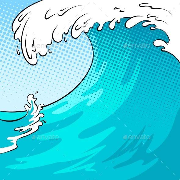 Ocean wave color bakground. Waves clipart comic