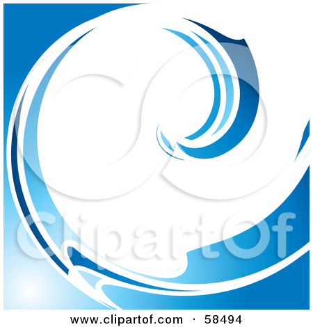 White and blue panda. Clipart wave curling wave