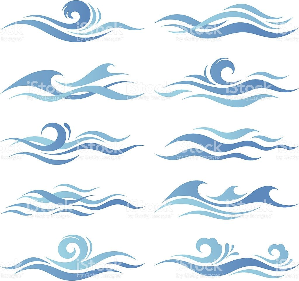 Clipart wave curling wave. Set of abstract waves