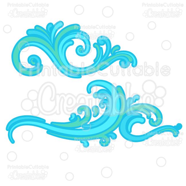 Ocean wave flourishes svg. Waves clipart file