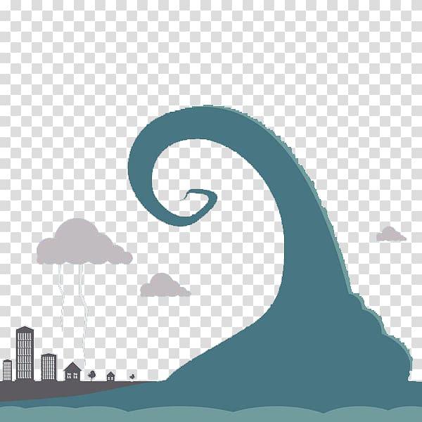Waves clipart flood. Tsunami flat design illustration