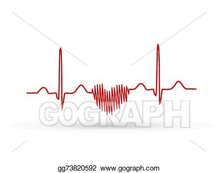 Vector stock frequency heart. Heartbeat clipart wave