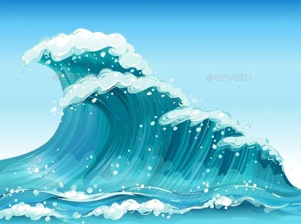 Big travel vectors graphics. Clipart waves giant wave
