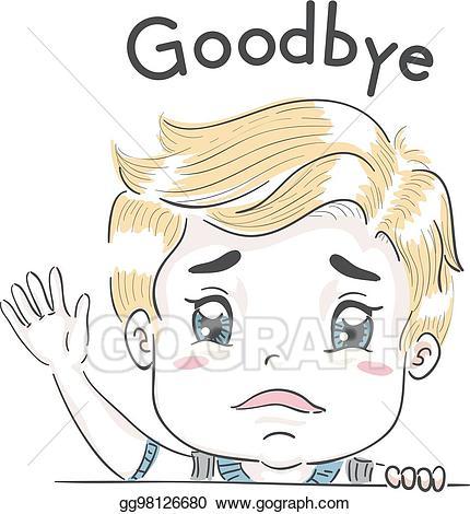 Clipart wave kid. Vector illustration boy goodbye