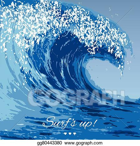 Vector illustration ocean stock. Waves clipart large wave