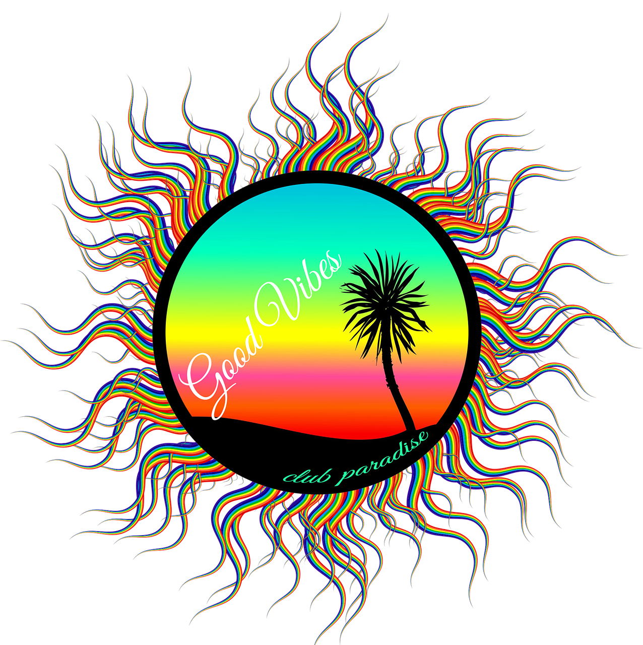 Sunset clipart beach wave. Palm tree drawing at