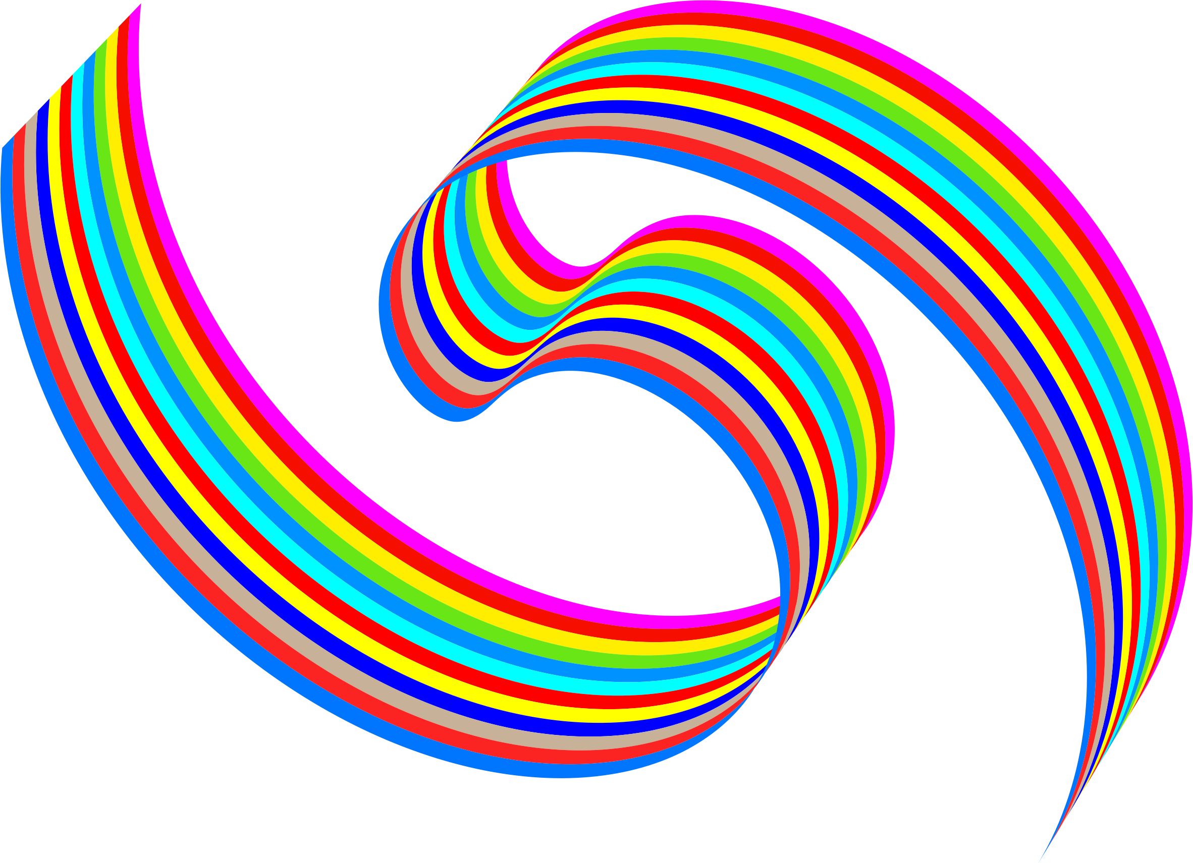 Wavy rainbow ribbon big. Ocean clipart swimming