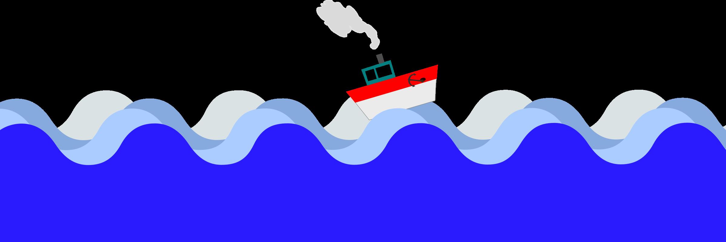 Boat at sea icons. Waves clipart sailboat