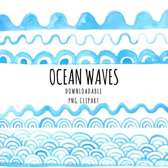 Ocean watercolour hand made. Waves clipart nautical