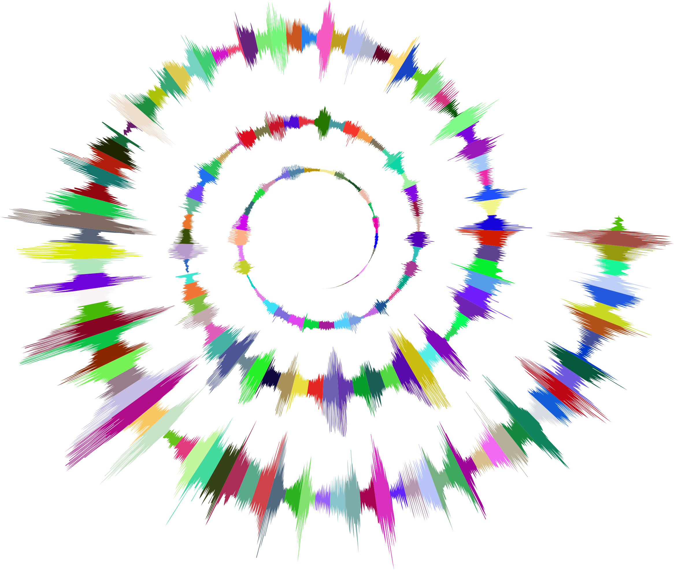 Prismatic sound wave spiral. Waves clipart silhouette