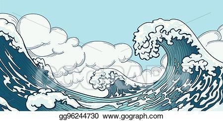 Waves clipart huge wave. Vector ocean big in