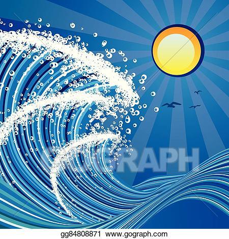 Clipart waves stormy sea. Vector stock cartoon illustration