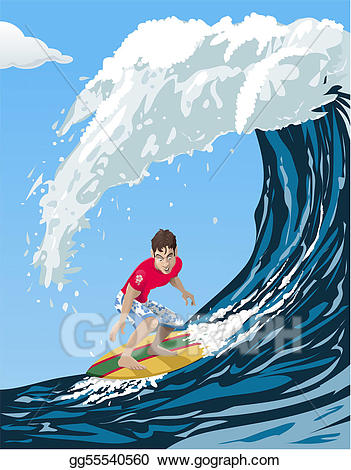 Vector art big surfer. Clipart wave surf wave