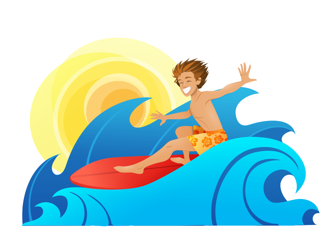 Silver surfer surfing cartoon. Clipart waves surf wave