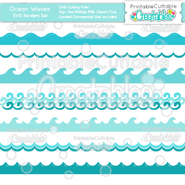 Ocean wave borders cutting. Waves clipart svg