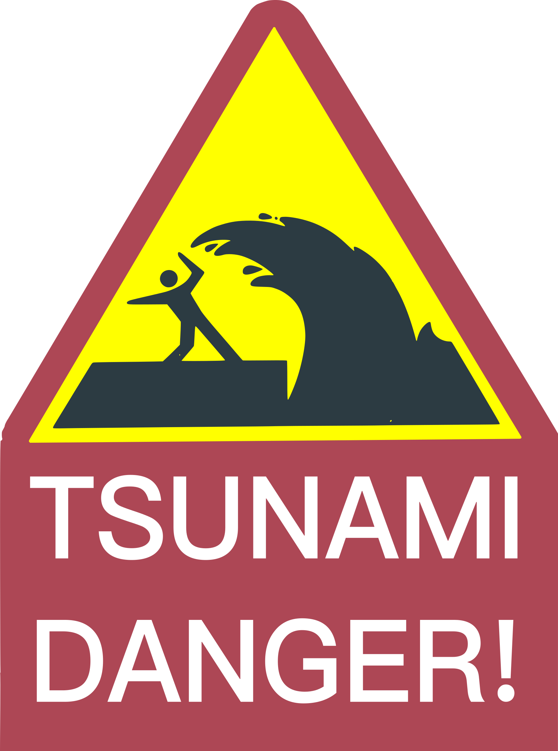 Waves clipart tidal wave. Tsunami danger sign big