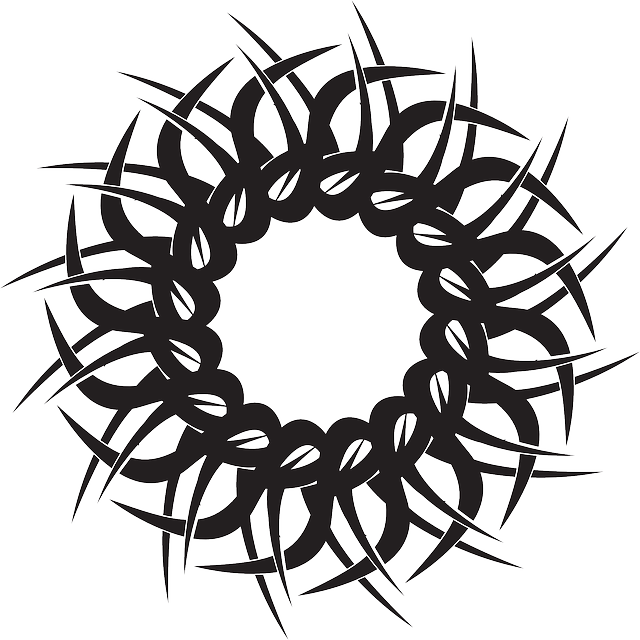 Waves clipart tribal. Circle shape lines crossed