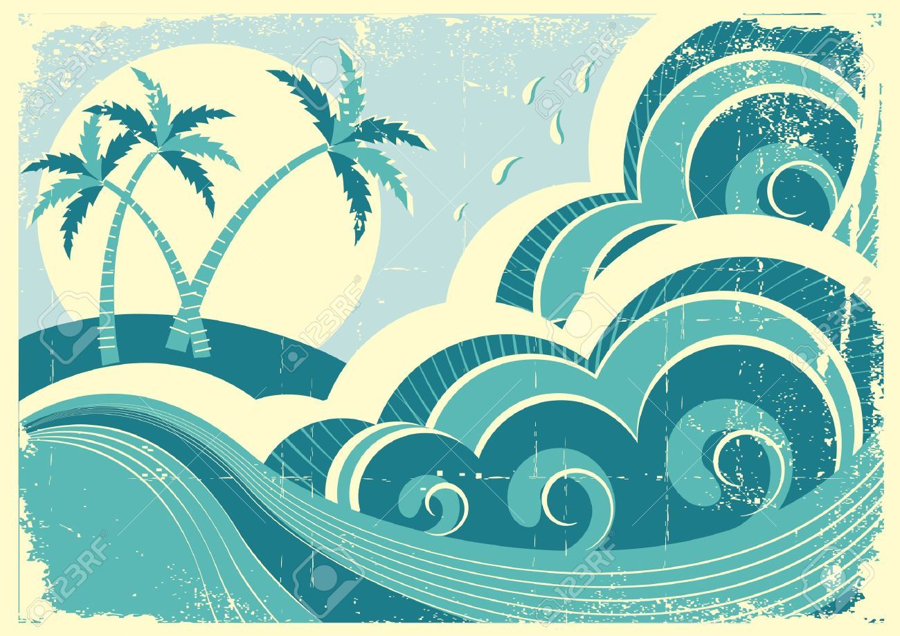 Stock vector individual action. Waves clipart vintage