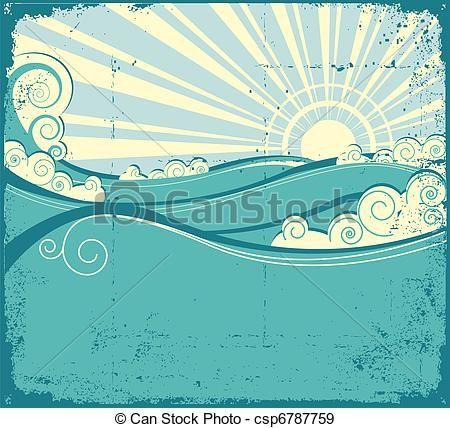 Vector sea illustration of. Waves clipart vintage