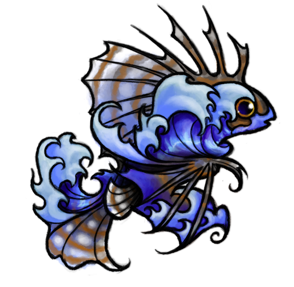 Hawaiian lionfish and tattoo. Waves clipart wave hawaii