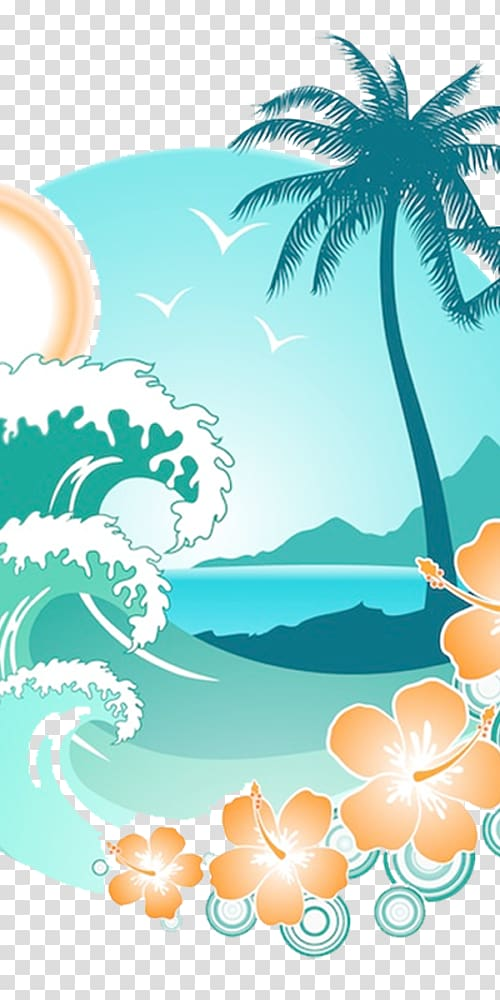 Clipart waves wave hawaii. Sea and palm tree